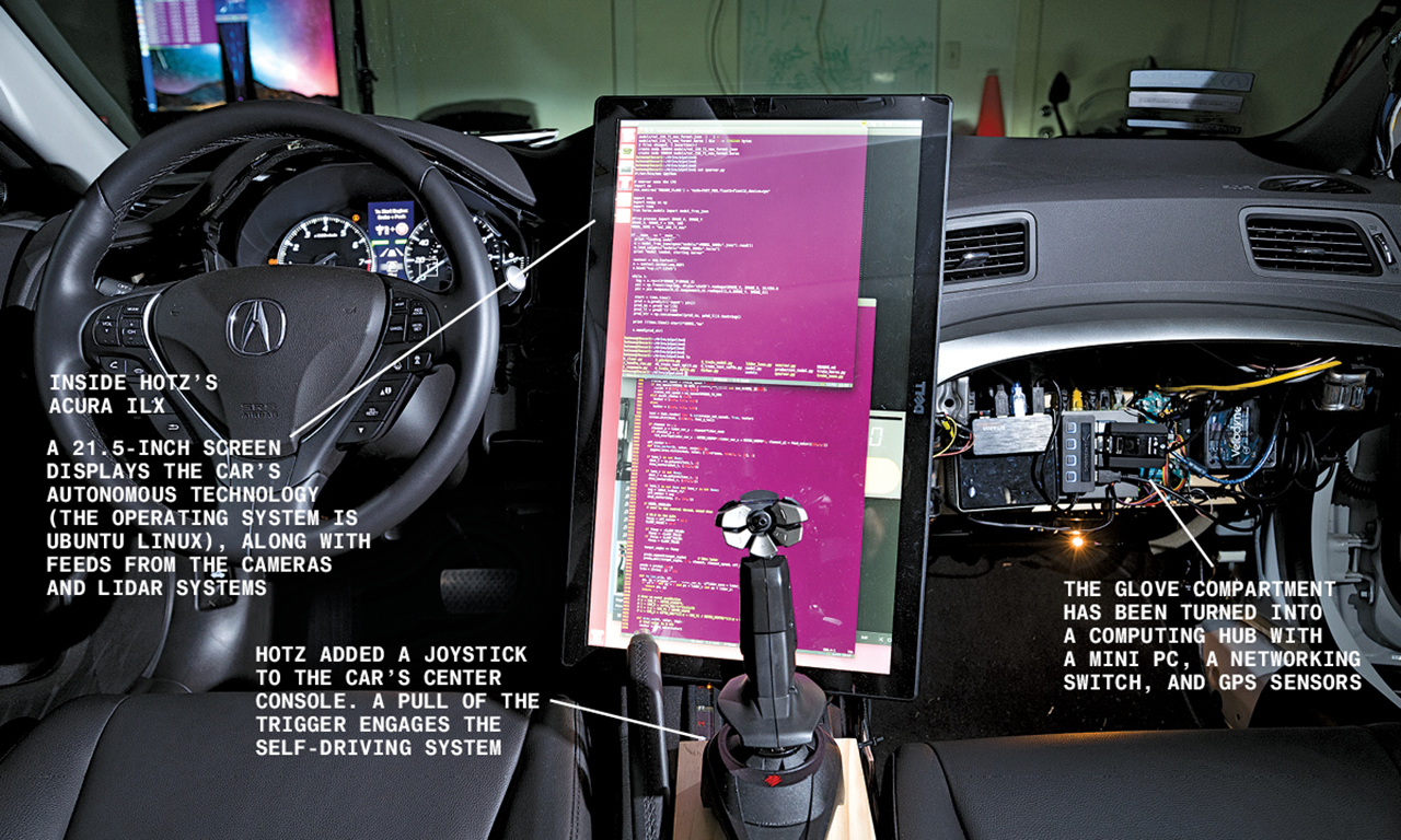 Inside of Georg Hotz' Acura - Photographer: Peter Bohler for Bloomberg Businessweek